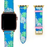 Lilly Pulitzer Genuine Leather Watch Band Sized to Fit 38mm & 40mm Smartwatches Compatible with Apple Watch Series 1, 2, 3, 4 (Swizzle Out)