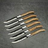 steakbesteck Steakmesser Set Schwarzer Hammerklinge Abendessen Messer mit Olivenholz Handgriff Tischmesser Set Handgemacht Geschmiedet 4/6/8/10 / 10 stücke Steakmesser (Color : 6pcs)