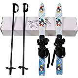 I-Sport ABS Plastic Kids Beginner Ski Sets Snow Skis and Poles with Universal Bindings for Age 2-5 (Penguin)