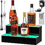 VEVOR LED Lighted Liquor Bottle Display Shelf, 20-inch LED Bar Shelves for Liquor, 2-Step Lighted Liquor Bottle Shelf for Home/Commercial Bar, Acrylic Lighted Bottle Display with Remote & App Control