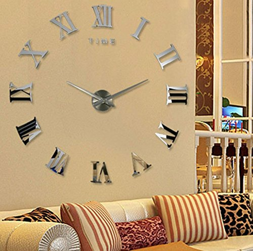 Price comparison product image Modern Design DIY 3D Big Wall Clock Home Decor Quartz Horloge Wall Watch Stickers Reloj De Pared Acrylic Mirror Clocks 20 Inch (Silver Color)