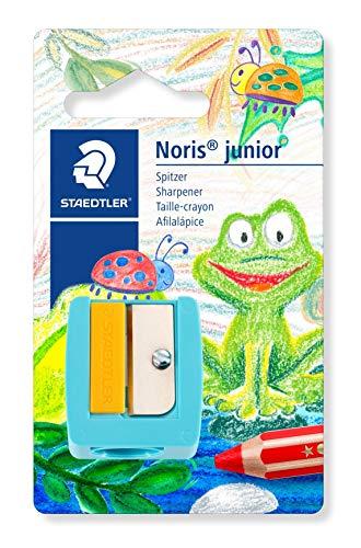 Staedtler 514 10 BK Noris junior Spitzer (kindgerecht, Extra dick, besonders geeignet für Buntstifte mit ca. 14 mm Durchmesser, Klingenschutz und Fingerschutz für maximale Sicherheit)