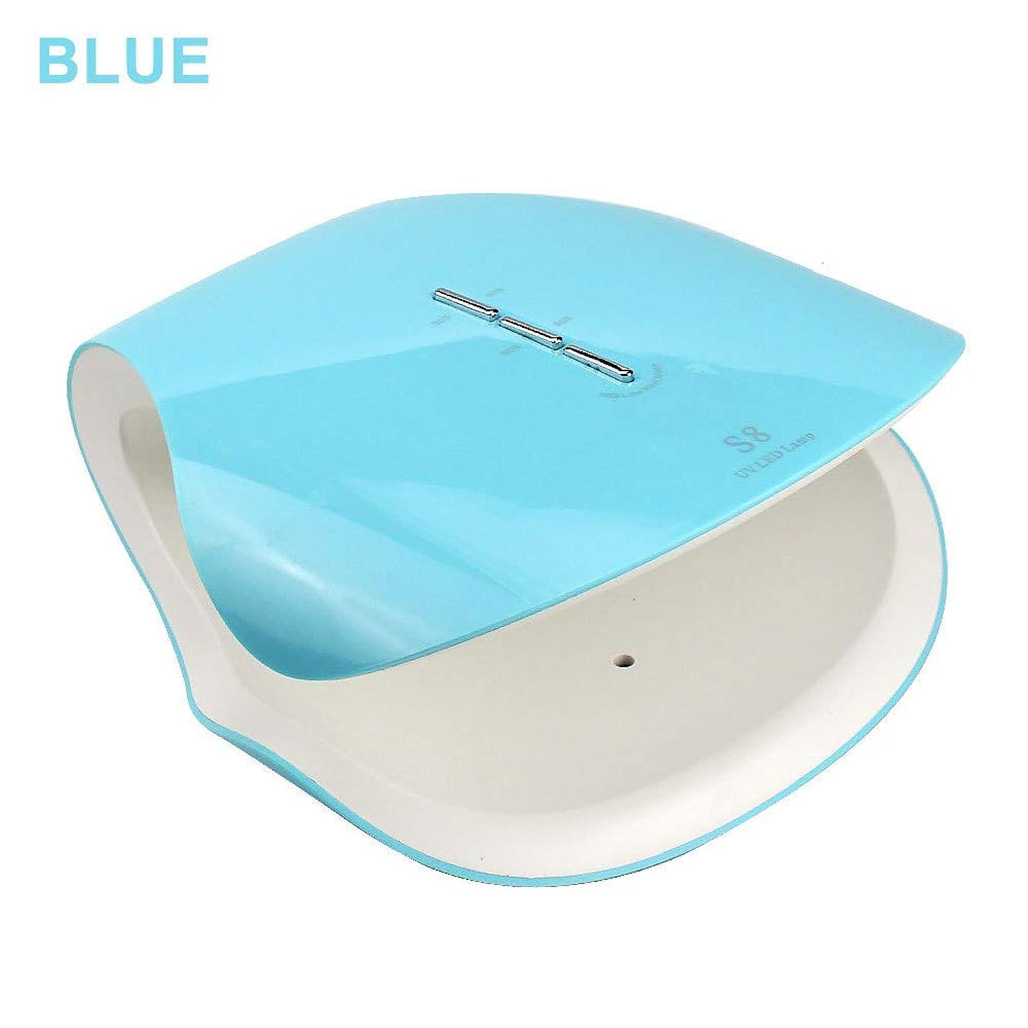 シャッター前売サラダLed UVネイルドライヤー、48ワットスマートネイル光線療法機30 s 60 s 99 sタイマープロフェッショナル機マニキュア/ペディキュア,Blue