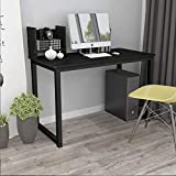 Rainbow Tree Simple Computer Desk with Movable Bookshelf Home Office Writing Desk, Modern Minimalist Table Student Desk, Black