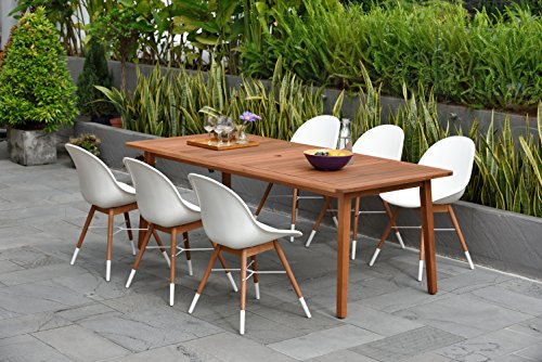 Brampton 7 Piece Outdoor Eucalyptus Rectangular Dining Set | Perfect for Patio | with White Chairs