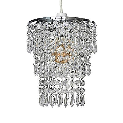 MiniSun – Dreistufiger Lampenschirm in Kronleuchter-Stil mit klaren Acryl Juwelen – Acryl Lüster, 1-flammig – Kronleuchter – Lampenschirm Decke – Kristallleuchte – Kristall Kronleuchter (Chrom/Acryl)