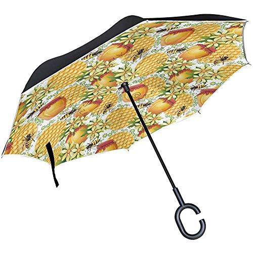 Alice Eva Netter Gänseblümchen-Honig-Bienen-Rückregenschirm für Auto-Reise-Doppelschicht-umgekehrten Regenschirm