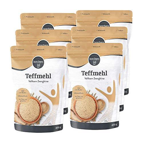 6 x borchers Premium helles Teffmehl, aus Zwerghirse, reich an Ballaststoffen, Angenehm Nussig, Perfekt zum Backen für Kuchen, Crepes und Brote 400 g