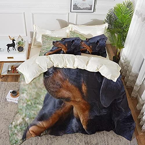 Juego de Fundas de edredón,Rottweiler Perro Mascota Animal Negro Reloj Vigilante/Microfibra Funda de Nórdico (Cama 220 x 240 cm + Almohada 50X80cm)