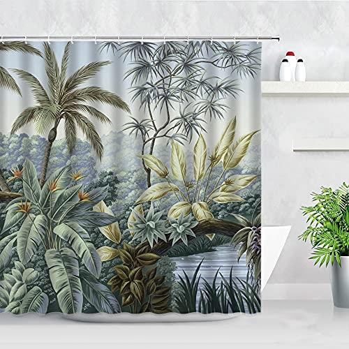 Tropischer Dschungel Pflanzen Duschvorhang Palmen Leopard Flamingo Papagei Blätter Landschaft Badezimmer Dekor Vorhänge S.2 90x180cm