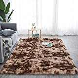 Alfombra de pelo largo para salón, suave área de rea, dormitorio, Shaggy, dormitorio, alfombra de cama, exterior, color marrón, 160 x 200 cm