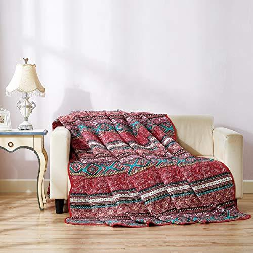 Qucover Tagesdecke 200 x 220 cm Boho, Baumwolle Gesteppte Bettüberwurf für Doppelbett, leichte Steppdecke Patchwork Stil Rot