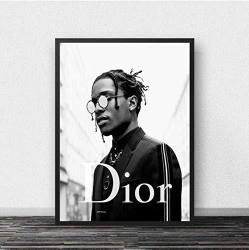 zhuifengshaonian ASAP Rocky Poster Print Rapper Poster Musik Star Hip Hop Rapper Print Wandbilder für Wohnzimmer Home Decor (zfsn-907) 50x70cm