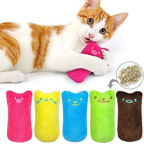 Voarge Katzenminze Plüsch Spielzeug, 5 Stück Katzenminze Kissen Katzenspielzeug, Katzenminze Set Katzenspielzeug Beschäftigung Spielzeug Katze Spiele für Katzen Kitten Interaktives