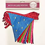 Fair Trade Recycled Sari Fabric Bunting - 2.45m - 10 Flags - Garland for Garden Wedding Birthday Indoor Outdoor Party… 2