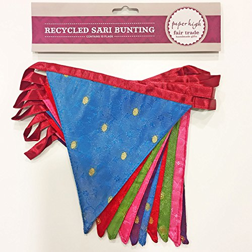 Fair Trade Recycled Sari Fabric Bunting - 2.45m - 10 Flags - Garland for Garden Wedding Birthday Indoor Outdoor Party Decoration