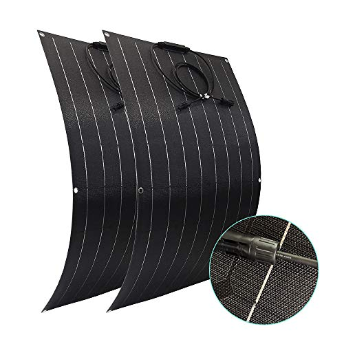 2X 100W Flexible Mono Solar Panel 200W Solar Panel with Rugged Surface for Motorhomes Boat RV Travel Trailer Truck Home