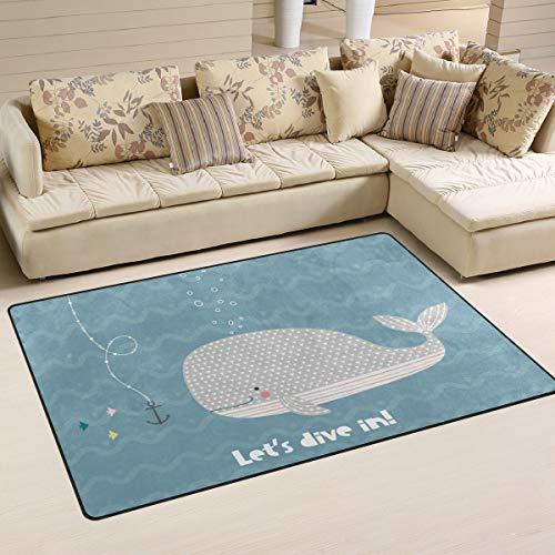 LZXO Teppich für Wohnzimmer, Tiere, Wal, Anker, Streifen, strapazierfähiger Teppich, Schlafzimmerteppich, Fußmatte, 152 x 100 cm, Polyester, multi, 31x20in