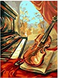 YHYIUD DIY Malen Nach Zahlen Kreieren Klavier und Geige Nachdenkliches Dekorative Gemälde für Küche, Wohnzimmer, Schlafzimmer, Café, Büro, Küche, Hotel 16x20 Zoll ohne Rahmen.