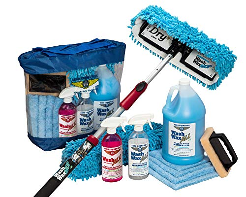 Waterless RV Aircraft Boat Wash Wax Mop Kit With Deluxe Pole, No Ladder Needed, Wash, Wax, Dry, Anywhere, Anytime, No Restrictions