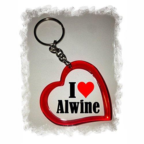 """EXCLUSIVO: Llavero del corazón """"I Love Alwine"""" , una gran idea para un regalo para su pareja, familiares y muchos más! - socios remolques, encantos encantos mochila, bolso, encantos del amor, te, amigos, amantes del amor, accesorio, Amo, Made in Germany."""