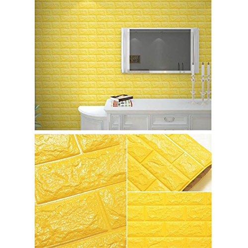 LKXHarleya 3D Imperméable à L'eau PVC Auto-Adhésif en Relief Mousse Brique Motif Papier Peint Moderne Chambre Salon Papier Peint 70 x 30 cm