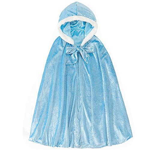 Kostüm für Mädchen Prinzessin ELSA Samt lang Umhang Mantel für Halloween Party Cosplay Winter mit Kapuze Gr Medium blau
