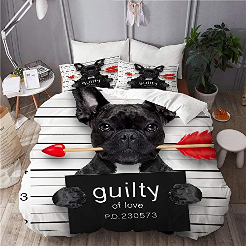 Aliciga bedding-Duvet Cover Set,bulldog dog with rose in mouth as a mugshot guilty for love,Microfibre 260x220 with 2 Pillowcase 50x80,Super King