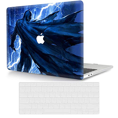 ACJYX Coque Compatible avec MacBook 12 Pouces Retina A1534 2017 & 2016 & 2015, Couverture en Plastique Enduite de Motif d'impression Coque Rigide & Couverture de Clavier, Héros de Batman Bleu