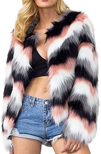 Tammy W Nash Womens Coat, Ladies Teen Warm Faux Fur Coat Jacket Winter Chic Gradient Color Parka Outerwear