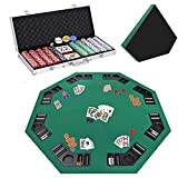 Smartxchoices 48' Poker Table Top + 500 Poker Chip Set Bundle Folding 8 Player Table Topper with Cup Holders...
