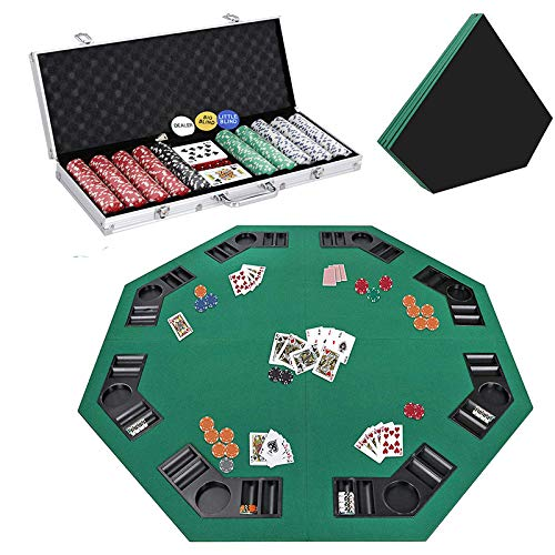 Smartxchoices 48' Poker Table Top + 500 Poker Chip Set Bundle Folding 8 Player Table Topper with Cup Holders Dice Style Casino Poker Chips w/Aluminum Case for Texas Holdem Blackjack Gambling