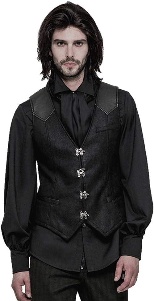Steampunk Men's Vest Gothic Single Breasted V Neck Black Waistcoat Formal Suit Vest (L)