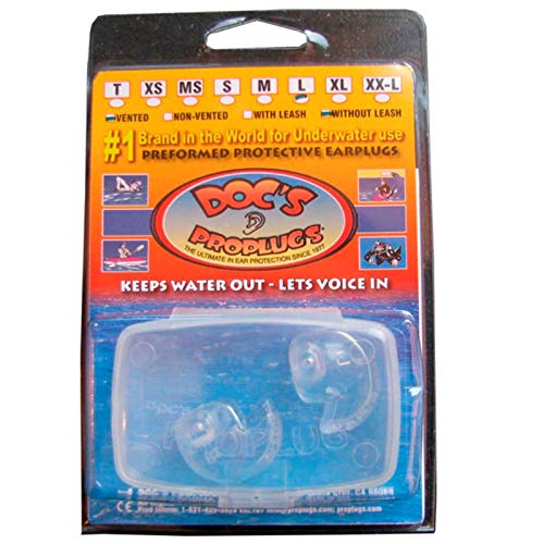 Doc's ProPlugs - Preformed Protective Vented Earplugs (pair) Clear for Scuba Diving and Snorkeling