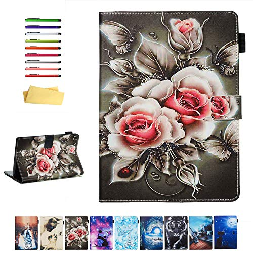 UUcovers Smart Cover for 8' Amazon Kindle Fire HD 8 Tablet 2018/2017/2016 Case 8th/7th/6th Generation with Pencil Holder, PU Leather Magnetic Folio Stand Card Wallet [Auto Wake/Sleep], Black Rose