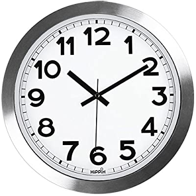 hippih Silent Wall Clock, HIPPIH12 Inch Quiet Non-Ticking Office Wall Clocks, Silver Aluminium Decorative Clocks for Bathroom/Kitchen/Home/School/Gym, Battery Operated
