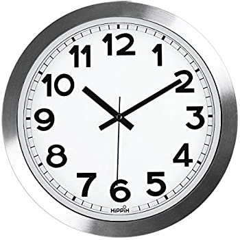 Silent Wall Clock HIPPIH 12 Inch Quiet Non-Ticking Office Wall Clocks Silver Aluminium Decorative Clocks for Bathroom/Kitchen/Home/School/Gym Battery Operated