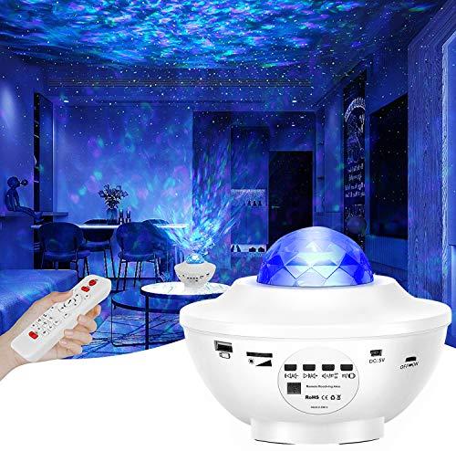 Lampe Projecteur LED Étoile, Lumière Projecteur Bluetooth Simulation des nuages 12 Modes Musicale Commande Minuterie avec Télécommande Enceinte Intégré pour Décoration des Chambres/Enfants/Fête(Blanc)