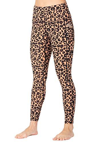 Wirezoll Leggings Damen 7/8, High Waist und Blickdichte Sport Hose mit Taschen,Leopard Gelb,38