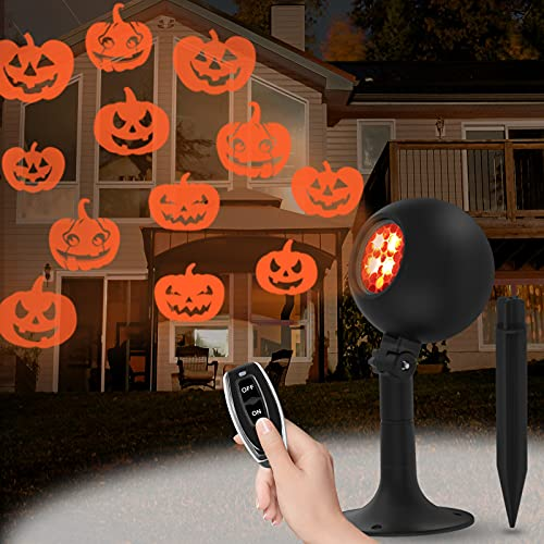 Auxiwa Halloween Lights with Pumpkin Projector Lights Waterproof Outdoor Indoor Holiday Light LED Landscape Lights for...