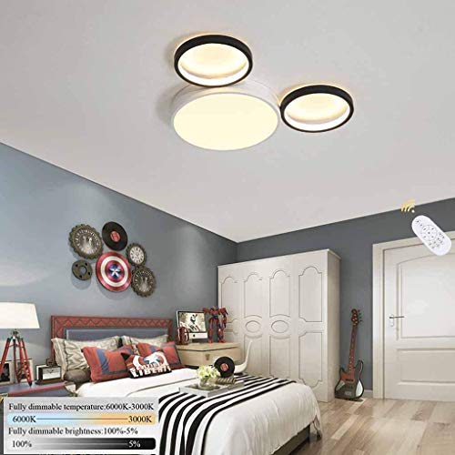 Fengqing-Pendelleuchte Cartoon Kinderzimmerlampe LED dimmbare Deckenleuchte 3-Ring-Kinderlampe Moderne...