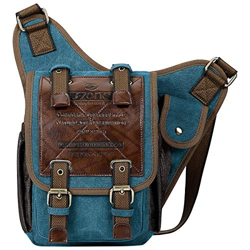 S-ZONE Unisex Mens Shoulder Messenger Bags Vintage Canvas PU Leather Military Utility Multi-functional Satchel Crossbody Bag (Blue)