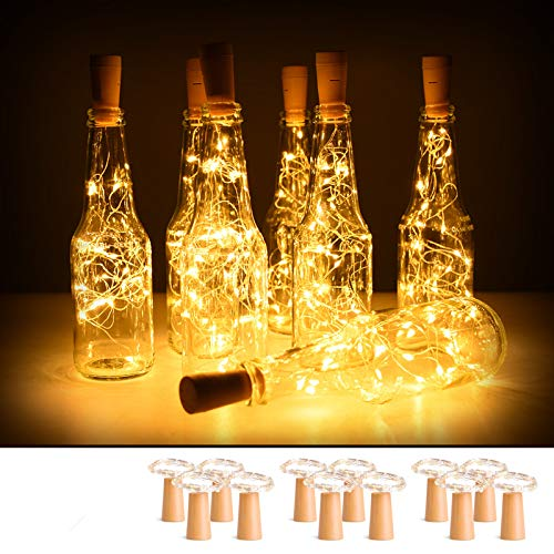 12 Pack Wine Bottle Lights with Cork, 2M 20 LED Battery Operated Copper Wire Fairy String Light for DIY, Party,...