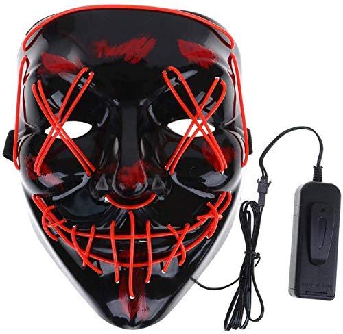 Máscara LED Halloween, Máscara de Grimace de Halloween con 4 Modos de Iluminación, Luminosa Craneo Esqueleto Mascaras, para Navidad, Halloween, Grimace Festival, Fiesta Show y Cosplay
