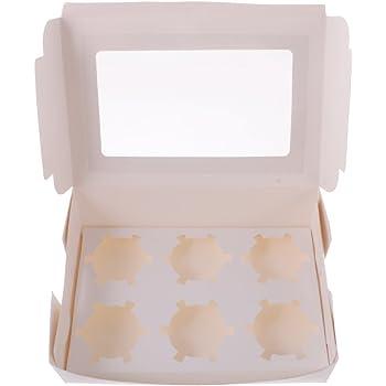 welim Cupcakes caja soporte para caja de soporte de cajas de pastel Muffin Cookies soporte se aplica a la embalaje de la tarta 6 Entramado Color Blanco 20 unidades: Amazon.es: Hogar