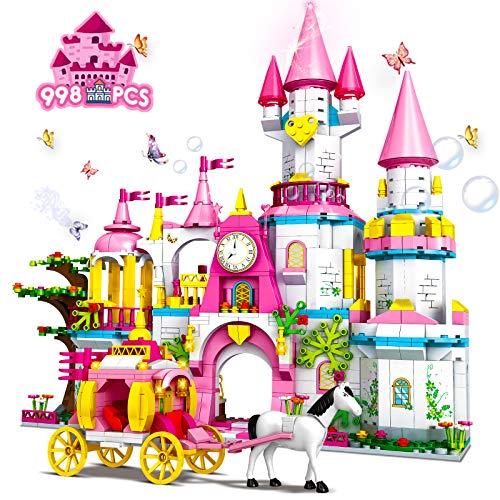 HOGOKIDS Mädchen Groß Schloss Bausteine Spielzeug: 998 Stück STEM Bauklötze 5-in-1 Rosa Prinzessin Schloss Baukasten für Kinder Alter 5 6 7 8 9 10 Jahre Kreative Geschenke für Geburtstagsfeier