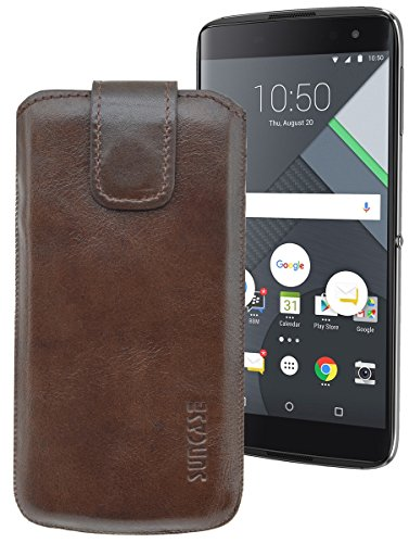 Suncase ECHT Ledertasche Leder Etui für BlackBerry DTEK 60 Tasche (mit Rückzugsfunktion) in rustic-mocca braun