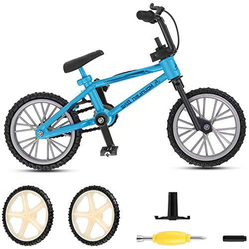 koea. BMX Finger Bike Series 12,Metal Finger Mountain Bike Toy, Cool Boy Toy Creative Game Toy Set for Flick Tricks, Flares, Grinds, and Finger Bike Games (Blue)