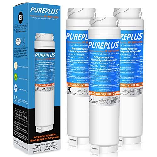 PUREPLUS 9000194412 Refrigerator Water Filter Replacement for Bosch Ultra Clarity 9000194412, 644845, 9000077104, B26FT70SNS, B22CS30SNS, B22CS80SNS, B22CS50SNS, Haier 0060820860, 0060218744, 3PACK