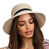 FURTALK Women Brim Sun Hat Summer Beach Cap UPF UV Packable Straw Hat for Travel (Medium, Adult NormalBrim Mix Khaki)